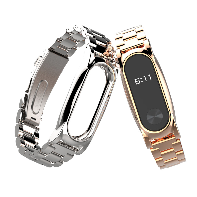 For Xiaomi Mi Band 2 Strap Metal Screwless Stainless Steel Mi Band 2 Strap Bracelet Miband 2 Correa 2 Wristbands image