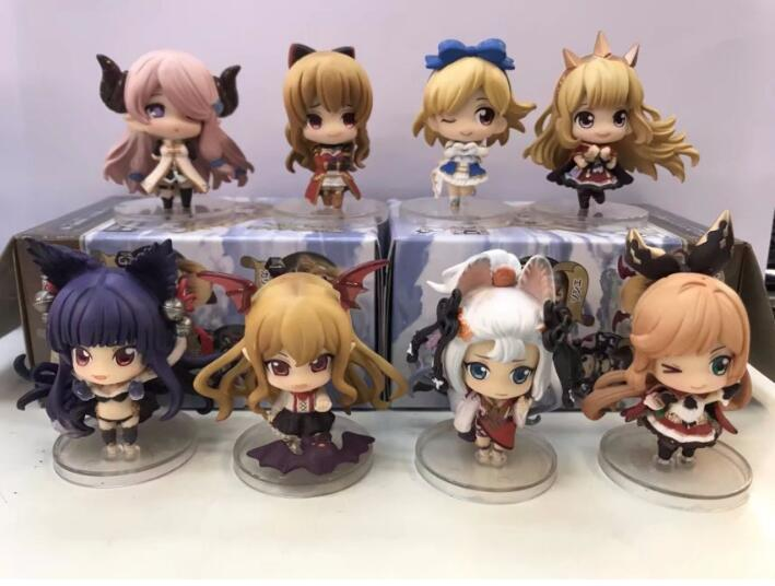 8pcs/set Granblue Fantasy Crystalia Lily Lo Mary Lyria Karakor Anime Action Figure quality toys new figures for friends gifts