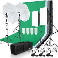 Kit de iluminación de estudio fotográfico 2x3M sistema de soporte de fondo con 4 Uds telón de fondo fotografía LED Softbox paraguas soporte de trípode