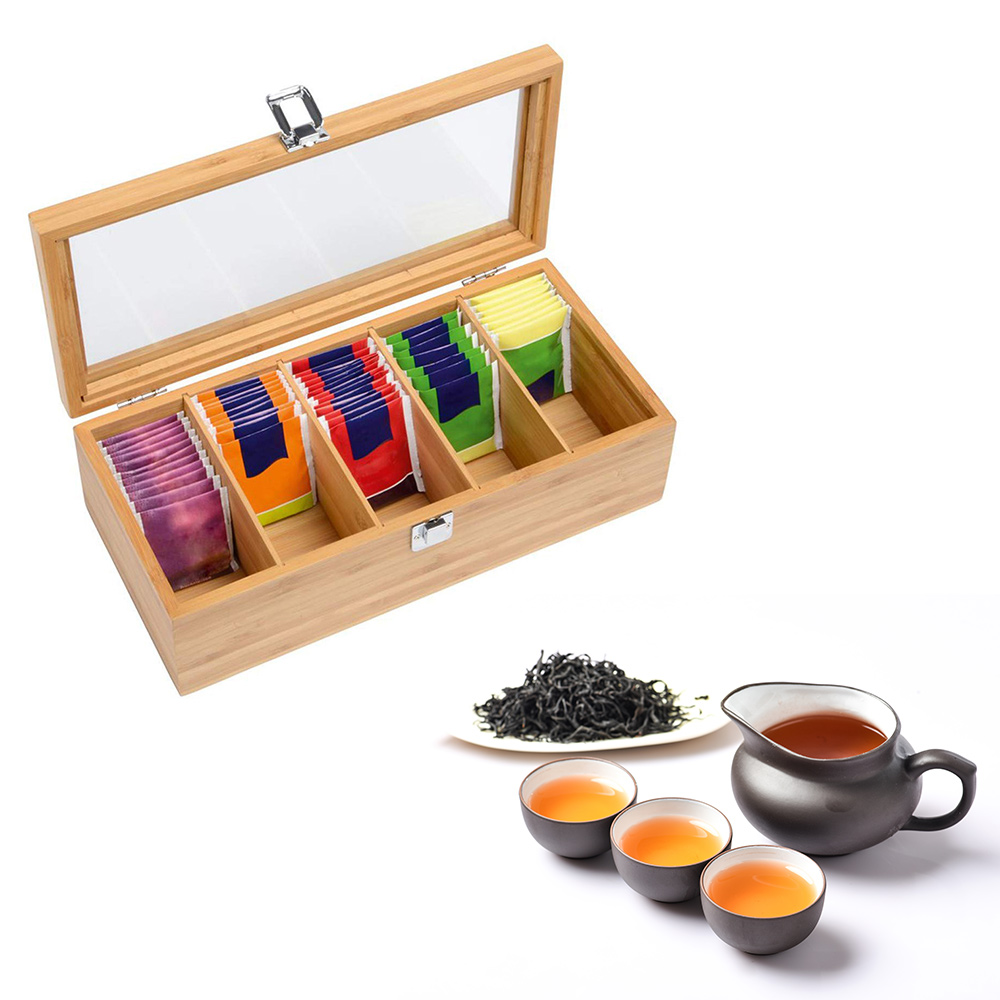 Bamboo System Tea Box System Tea Bag Jewelry Organizer Storage Box 5 Compartments Tea Box Organizer Wood Sugar Packet Container