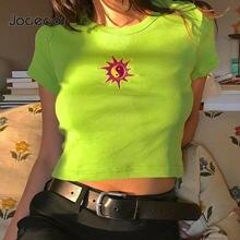 Зеленая Милая укороченная футболка женские летние топы с принтом
