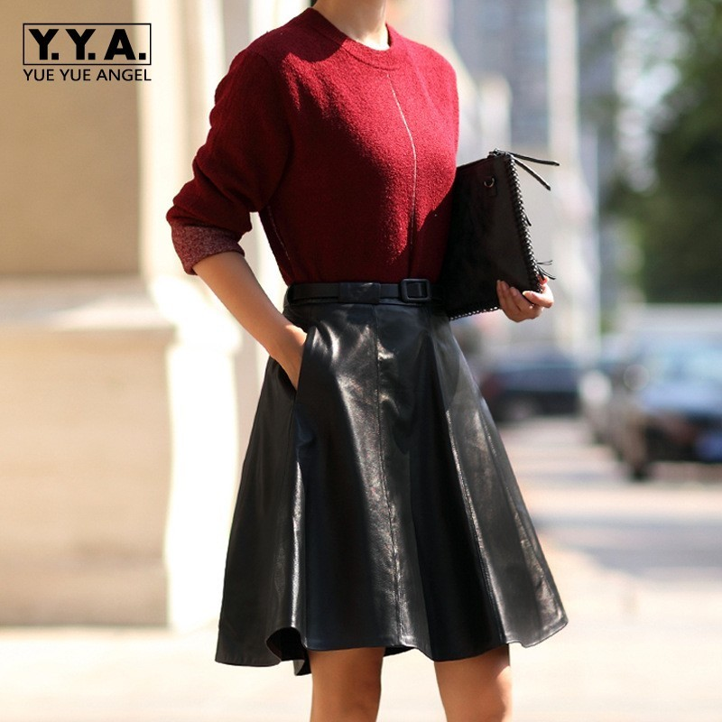 Women Genuine Leather Knee Length Skirts Fashion High Waist Office Lady Pleated Skirt Female Belted Slim Fit Black Red Saia 3XL