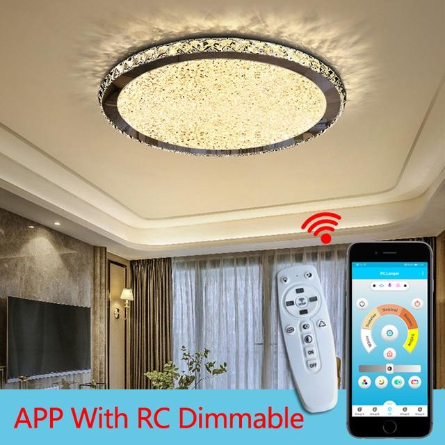 Yeni yuvarlak kristal avize ışıkları ev aydınlatma led lamba oturma odası yatak odası plafonnier yuvarlak led avize lampadari armatürleri