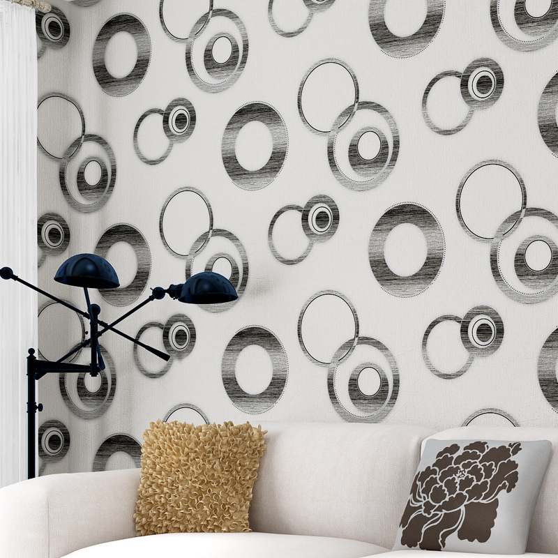 Modern Minimalist PVC Circle Living Room Television Background Wall Wallpaper KTV Hotel Background Wall Waterproof Wallpaper