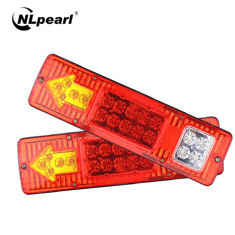 Nlpearl 2x Waterproof Trailer Lorries Boat Truck 19LED Tail Lights 12V 24V 10-30V Rear Lights Stop Turn Signal Lamp Extra Lights