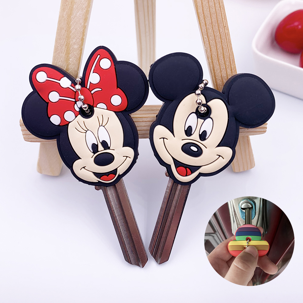 2Pcs/set Cute Cartoon Protective Silicone Keychain For Women/Man Key Cover Key Caps Key Ring Key Holder Kids Gift Key Chains