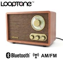 LoopTone, sobremesa, Bluetooth AM/FM, Radio Hi-Fi, Retro, clásico, para el hogar, altavoz incorporado, Control de agudos y bajos, hecho a mano, madera