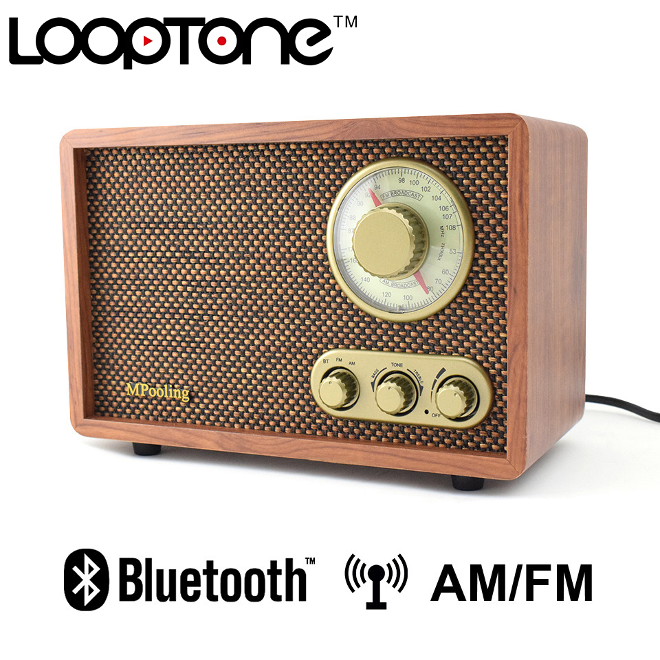 LoopTone Tabletop Bluetooth AM/FM Hi-Fi <font><b>Radio</b></font> Vintage Retro Classic Home <font><b>Built</b></font>-<font><b>in</b></font> Speaker Treble&Bass Control Hand-crafted Wood image