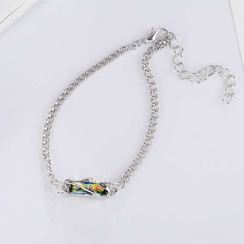 Pulsera de lujo para mujer para boda Color plata princesa cuadrada colorida Zirconia cúbica cristal cadena pulseras
