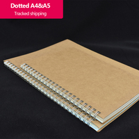 Spiral Bullet dotted journal  Square  Ruled  Blank optional Kraft paper cover Three sizes  50 sheets/100 pages Diary Sketchbook