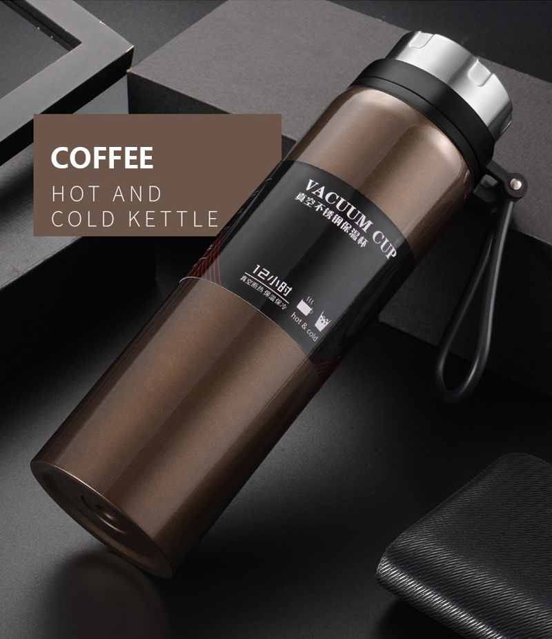 He7b06df30bcb4f6f8434563f3c5ebf670 Sports bottle 800ML / 1000ML large capacity double stainless steel thermos outdoor travel portable leak-proof car vacuum flask