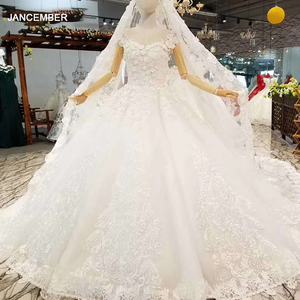 Image 1 - LS860540 שנהב קצר שרוול חתונה שמלת o צוואר נפוח הכלה שמלת סין מפעל סיטונאי ארוך 3d פרחי צעיף vestido coctel