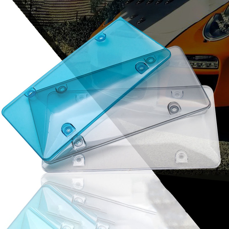 Dark Gray Plastic License Plate Cover Frame Flat Smoke Clear License Plate Frame Car Truck Protection Premium Quality