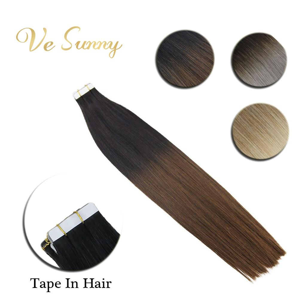 VeSunny Tape In Hair Extensions Human Hair Adhesive PU Tape On 2.5gr/pcs Blonde Ombre Color 10pcs 20pcs 40pcs