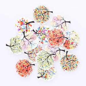 100pcs Mixed Trees 2Hole Wooden Buttons DIY Decor For Child Clothing Sewing Buttons Crafts Scrapbooking Accessories Decorativo E