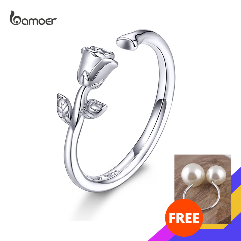 Bamoer Love Rose Flower Adjustable Finger Ring Band For Women 3D Branch Floral Open Size Ring 925 Sterling Silver Jewelry GAR065