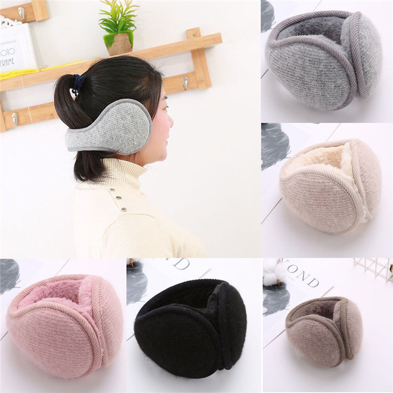 Unisex Solid Color Knitted Rabbit Fur Fleece Earmuffs Fashion Winter Casual Sports Warm Ear Flap Muffs Thick Ear Protection
