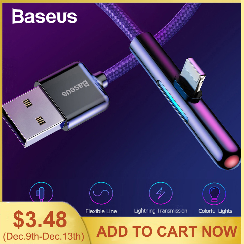 Baseus USB Cable for iPhone Xs XR Xs Max 90 Degree Mobile Game Cable LED Lighting Cable Fast Charging Charger for iPhone X 8 7 6-in Mobile Phone Cables from Cellphones & Telecommunications on AliExpress