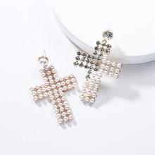 2019 New Summer Fashion Acrylic Imitation Pearl Cross Earrings Retro Exaggerated Temperament Popular Female
