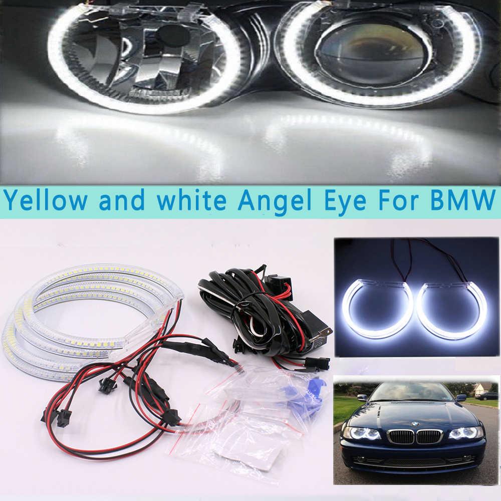 Ballylelly 4 Pezzi E36 E38 E39 E46 RGB 4 131MM Multicolore 5050 Flash LED Car Angel Eyes Anelli Faro Kit per BMW Circuito Integrato
