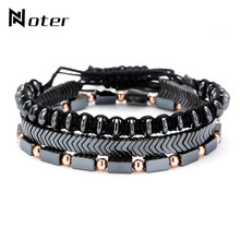 Trendy 3pcs Men Bracelet Set Handmade Braided Rope Braslet Natural Hematite Braclet Stone Adjustable Male Charm Brazalete Gift(China)