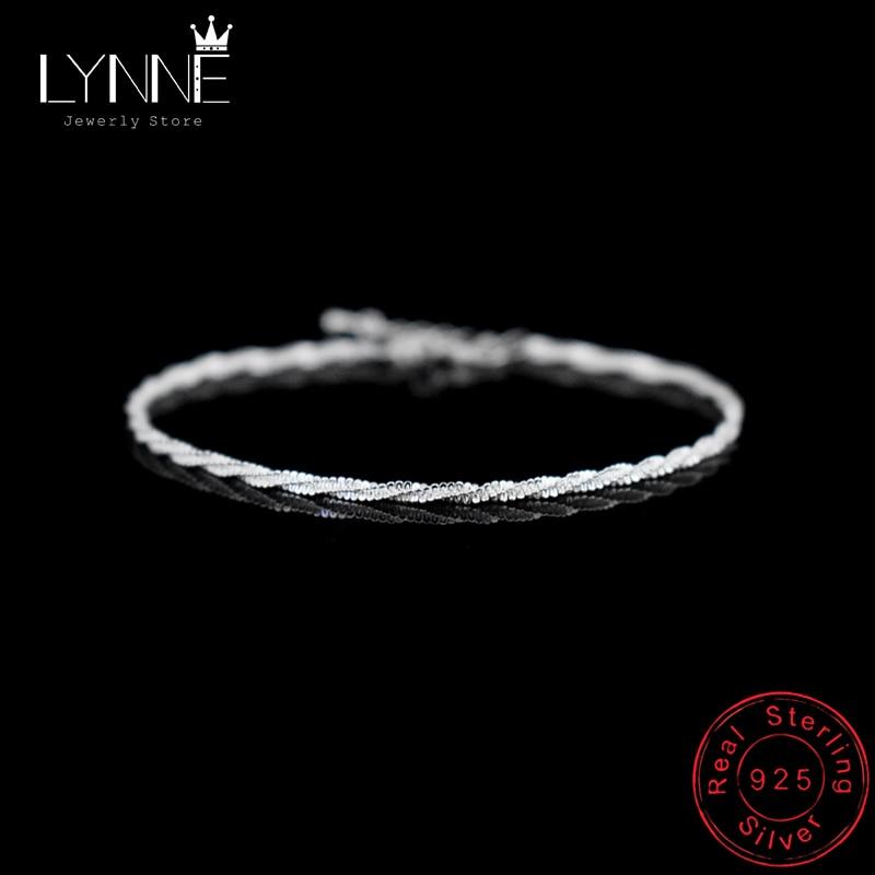 Hot Sale Fashion 925 Sterling Silver Simple Twisted Chain Wave Pattern Bracelet Delicate Spin Bracelets Women&Girl Jewelry Gift
