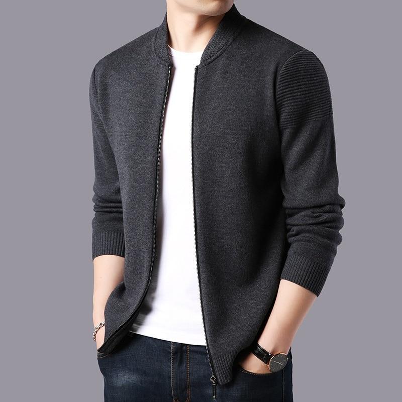 Cashmere Cardigan Sweater Men Thickening Warm Brand Clothing Fashion Zipper Fashion Winter Jacket Solid Color Sweater Men KK3028