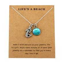 Mermaid Waves Sand Dollar Pendants Necklaces Starfish Conch Shell Sea Turtle Fish Shark Women Men Unisex Fashion Trendy Jewelry