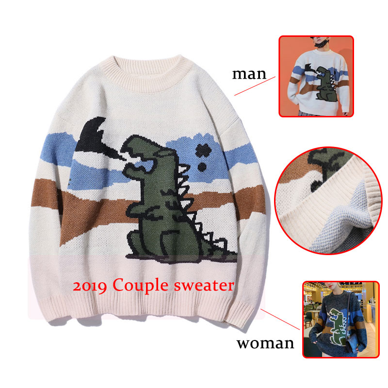 Couple Sweater Round Neck Loose Dinosaur Sweater Korean Style Knitting Pull Sweater Mens Harajuku Casual Outwear Men Clothes