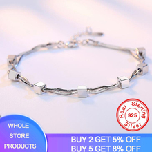 YANHUI 925 Solid Silver Square Cube Charm Bracelets For Women Fine Jewelry Link Chain Bangle Party Fashion Female Bracelet Gift fashion jewelry link chain charm bracelet woman fine bracelets for women bangle 2020 birthday gifts