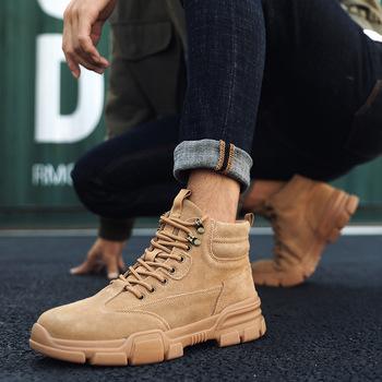 Męskie buty zimowe buty Trend brytyjski męskie buty Retro buty przypływ oprzyrządowanie buty modne męskie buty śniegowce buty robocze bhp tanie i dobre opinie HIKDOOER Pracy i bezpieczeństwa ANKLE Stałe Dla dorosłych Bonded leather Okrągły nosek RUBBER Wiosna jesień Mieszkanie (≤1cm)