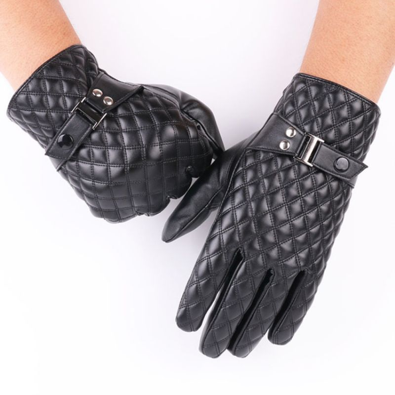 Men Fashion Casual Diamond Pattern Touchscreen Cycling Gloves Winter Full Finger Thick Fluffy Thermal Gloves Snowboard Gloves