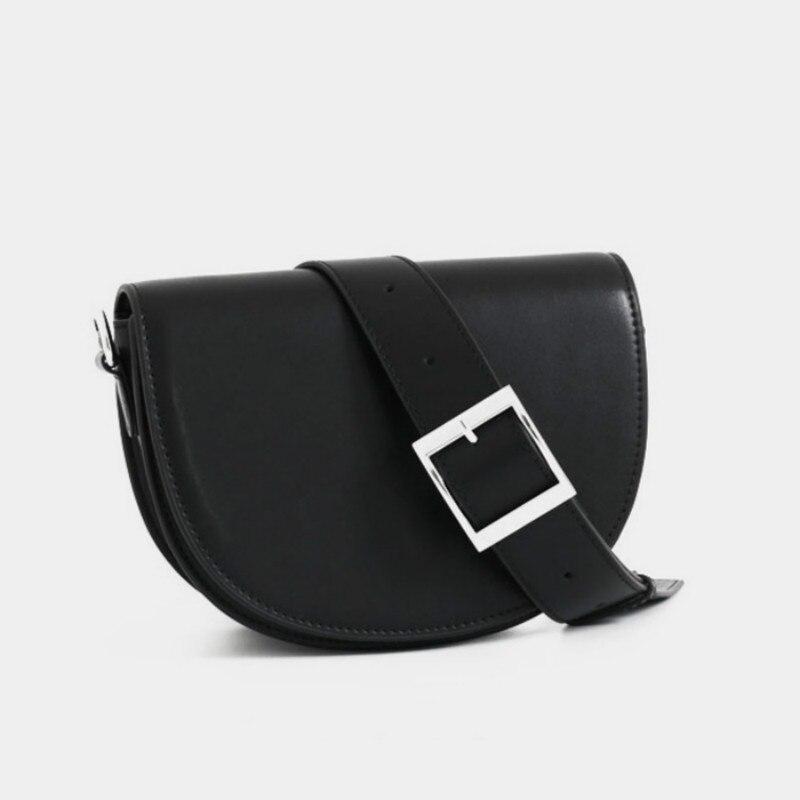 Cow Leather Women Bag 2020 New Fashion One Shoulder Messenger Half Round Bag Retro Versatile Simple Saddle Bag