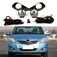 цена на Car Fog Light Assembly Kit For Toyota VIOS 2008-2013 12V 55W Front Bumper Headlight Halogen Fog Lamps With Accessories