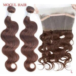 Mogul cor do cabelo 4 chocolate marrom brasileiro onda do corpo 360 pré-arrancado laço frontal com pacote remy extensão do cabelo humano