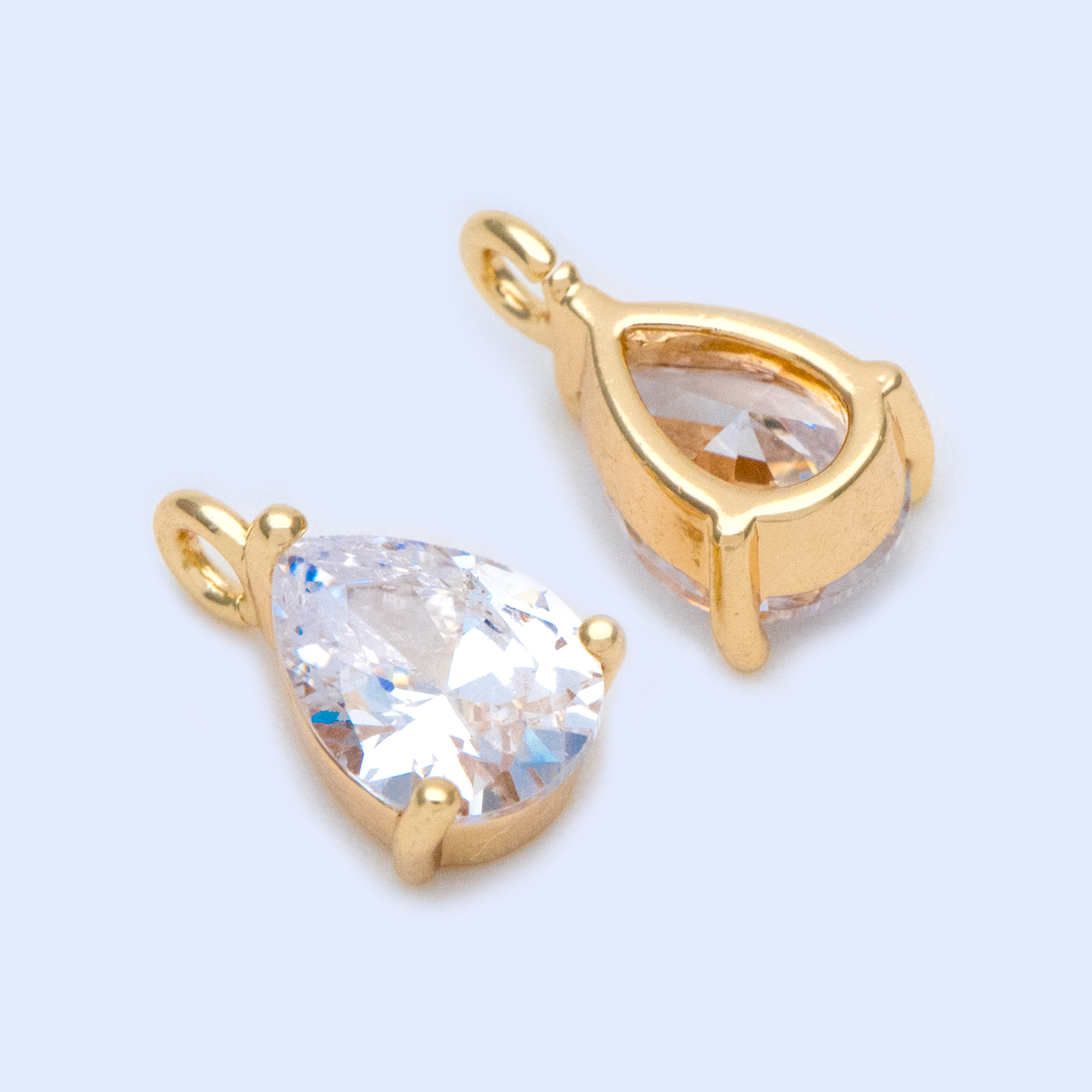 10pcs CZ Paved Gold Teardrop Charms 11x7mm, Gold Plated Brass Drop Pendants (GB-1151)