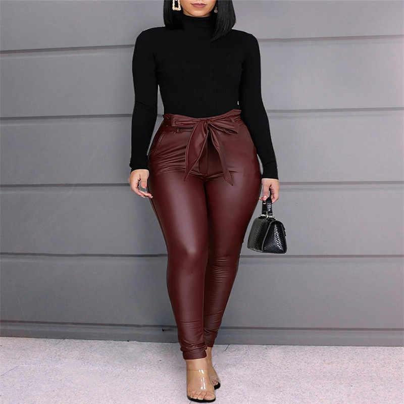 חם יין אדום שחור נשים עור מפוצל מכנסיים חותלות גבירותיי סקיני עיפרון גותי פאנק מכנסיים מכנסיים סקסי סקיני גבוה מותן מכנסיים