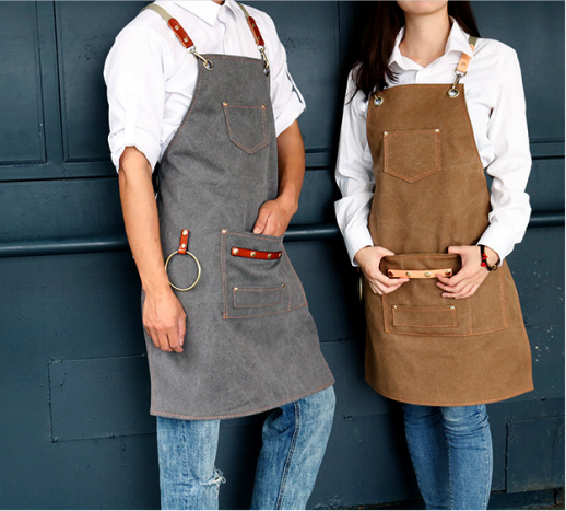 Canvas Apron Bib Leather Chef Kitchen Apron For Women Men Barista Bartender Pockets Home Barber  Coffee Restaurant BBQ Potect
