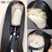 13x4 frente do laço perucas de cabelo humano preto mulheres pré arrancadas peruca brasileira reta perucas de frente do laço com o cabelo do bebê remy brilhante estrela