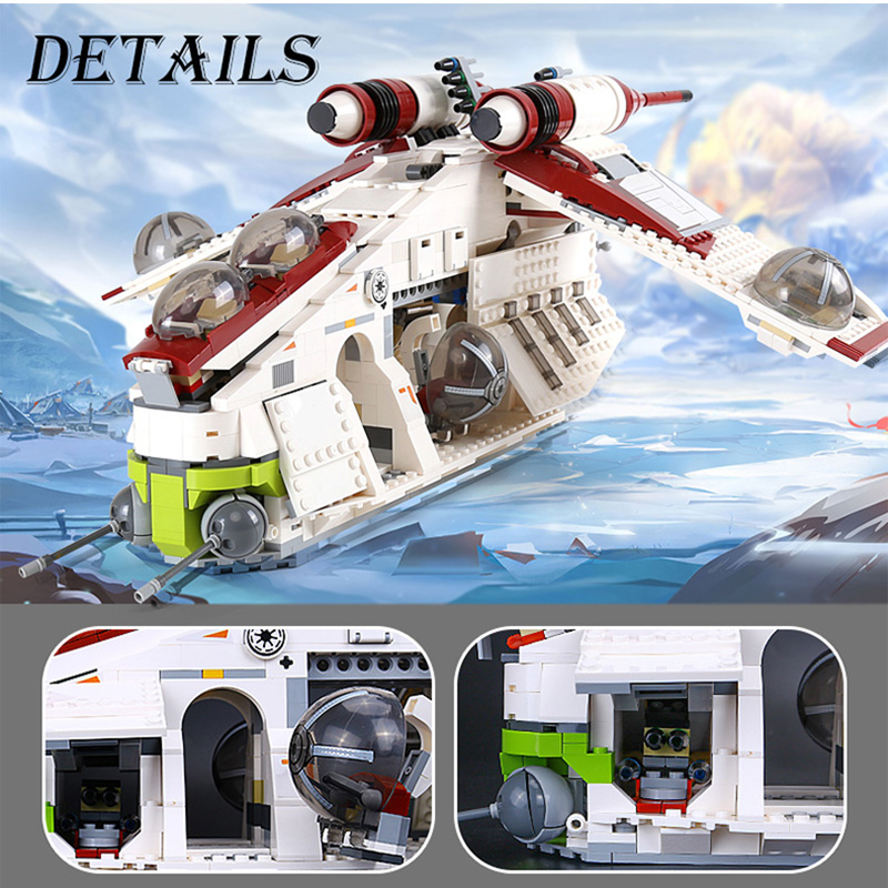 05041 Wars on Star Toy  Republic Gunship Set compatible with 75021 Ship for children Educational Blocks gift for boy 2