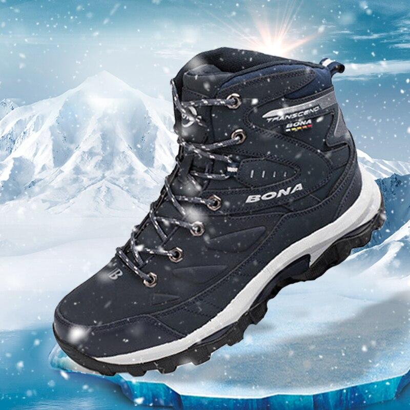 BONA Neue Klassiker Männer Wandern Schuhe Anti Slip Wasserdichte Leder Schuhe Klettern Schuhe Männer High Top Winter Stiefel Trend Turnschuhe