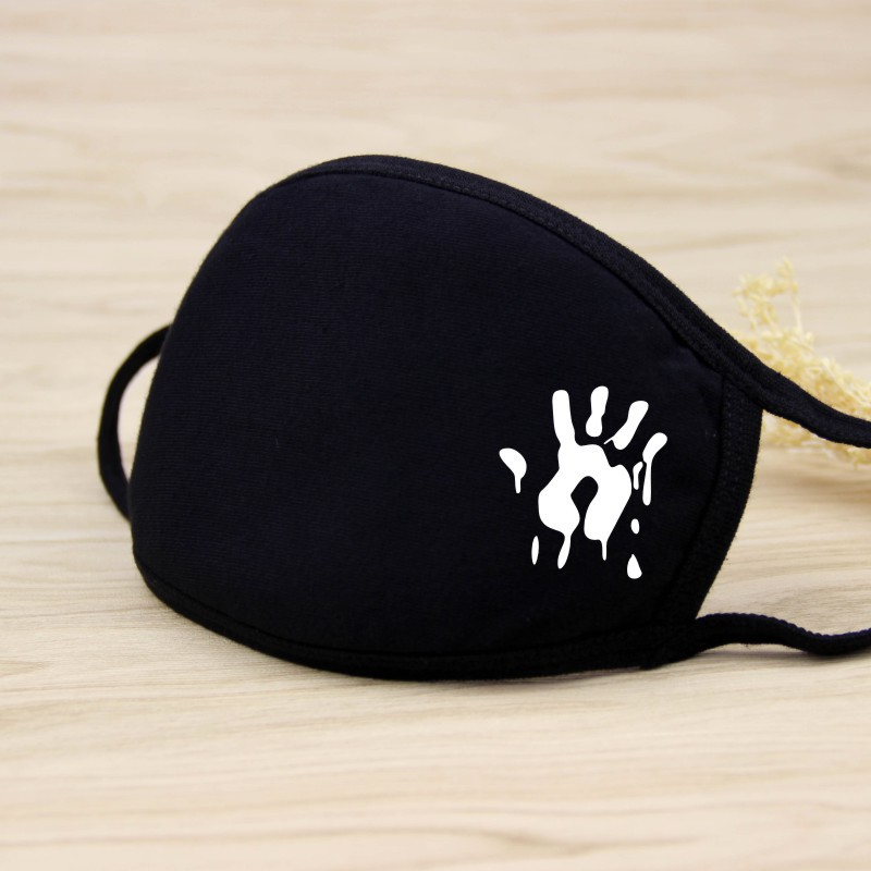 Black Cartoon Animal Mask Printed Handprint Dustproof Cycling Muffle Unisex Winter Thicken Cotton Half Face Mouth Mask 20*12.5CM