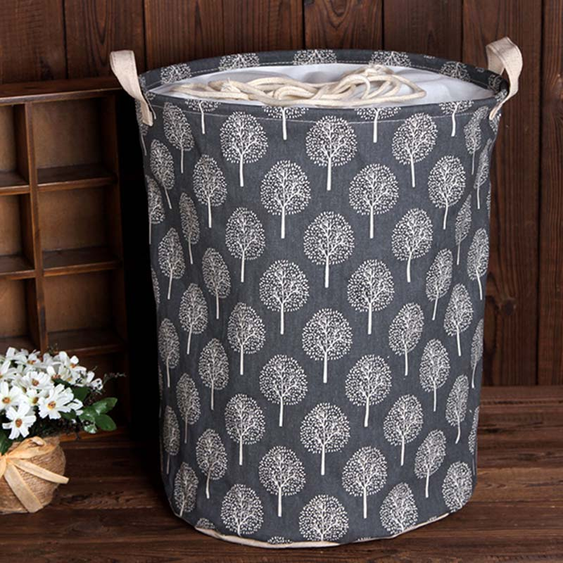 Seau de collecte de poussière en coton et lin | 35x45cm seau de collecte de poussière, panier de lavage, jouets de lavage, vêtements sales, organisateur paniers à linge, poubelle 1 pièce