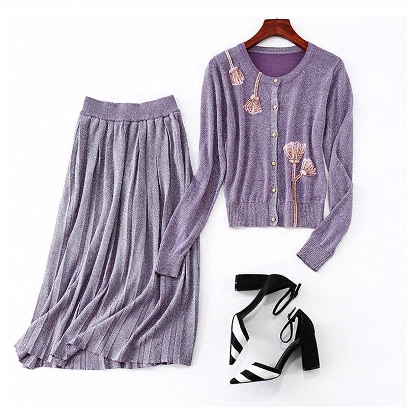 Automne printemps femmes asiatique élégant tricot Twin ensembles perles hauts jupe plissée extensible décontracté violet deux pièces ensembles