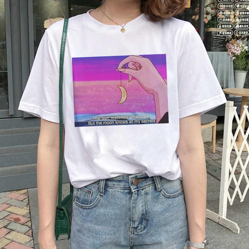 Kawaii بحار القمر Harajuku تي شيرت المرأة Ullzang الكورية نمط قميص جذاب 90s الجمالية التي شيرت الجرافيك مضحك تي شيرت الإناث