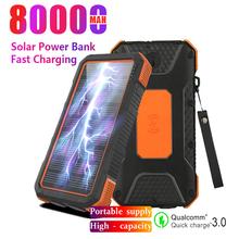 80000mAh Solar Power Bank przenośny 3USB zewnętrzne oświetlenie LED zewnętrzna bateria Travel Powerbank dla IPhone Xiaomi Samsung tanie tanio Tollcuudda Bateria litowo-polimerowa Z panelu słonecznego Z latarką Wodoodporna Ładowania bezprzewodowego Potrójne USB