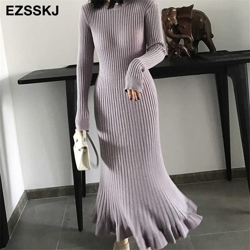 2019 thu đông dày nàng tiên cá maxi áo len Đầm nữ cổ tròn dài áo len Đầm nữ chữ A sexy chằn