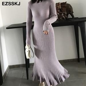 Image 1 - 2020 autumn winter thick mermaid maxi sweater dress women o neck long sweater dress elegant female a line slim sexy knit dress