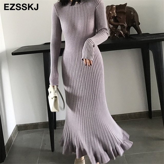 2020 thu đông dày nàng tiên cá maxi áo len Đầm nữ cổ tròn dài áo len Đầm nữ chữ A sexy chằn