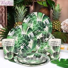 FENGRISE Turtle Leaf Paper Plates Cup Hawaii Party Supplies Hawaiian Birthday Tropical Leaves Disposable Party Tableware Decor